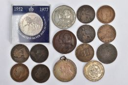 A SMALL PACKET OF COPPER COINS, etc, to include a bronze Commemorative of The Coronation of Edward