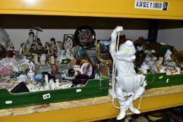 FOUR BOXES AND LOOSE CERAMIC ORNAMENTS AND COLLECTORS PLATES, to include clown on a swing hanging