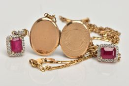 A LOCKET, CHAIN AND PAIR OF EARRINGS, the oval 9ct gold locket with diamond cut detail to the front,
