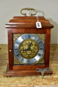 A REPRODUCTION MAHOGANY CASED FRANZ HERMLE BRACKET CLOCK, the caddy top fitted with a brass
