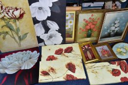 PAINTINGS AND PRINTS ETC, to include late 20th century oils on canvas still life studies, signed E.