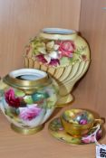 A ROYAL WORCESTER CABINET CUP AND SAUCER AND TWO ROYAL WORCESTER POT POURRIS LACKING COVERS, the cup
