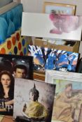 PAINTINGS AND PRINTS ETC, to include amateur watercolours, modern decorative prints, box canvas