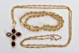 A 9CT GOLD ROPE TWIST BRACELET AND A GARNET CROSS PENDANT NECKLACE, hollow rope twist bracelet