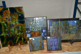 FIVE TILE PAINTINGS BY MARIA GEURTEN, comprising two 6'' x 6'' tiles painted with abstract faces,