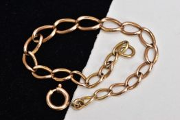 A 9CT GOLD ALBERT BRACELET, plain polished graduated links, fitted with a spring clasp, rubbed 9ct