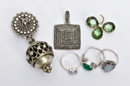 A BAG OF ASSORTED WHITE METAL JEWELLERY, to include three white metal gem set rings, some with marks