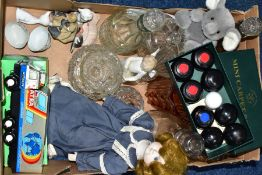 A BOX OF GLASS, CERAMICS AND SUNDRY ITEMS, to include a Czechoslovakian Tatra 815 GTC lorry with