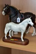 TWO BESWICK HORSES, comprising a Clydesdale, first version in working harness, matt finish, model