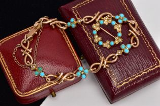 A YELLOW METAL TURQUOISE AND SEED PEARL BRACELET AND A BROOCH, the bracelet with openwork links,