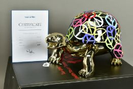 DIEDERIK VAN APPLE/VANAPPLE (DUTCH 1985) 'WORLD PEACE', a limited edition gold turtle sculpture with