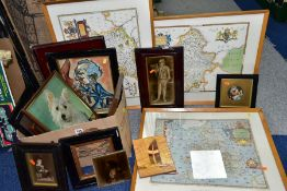 PICTURE AND PRINTS, ETC, to include a Sherwins Patent tile depicting a scantily clad female figure