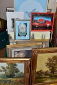 A QUANTITY OF PAINTINGS AND PRINTS ETC, to include a pair of P.Wilson oil on canvas landscapes,