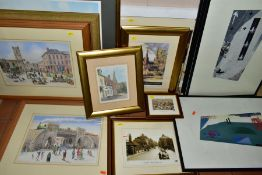 VIC BOWCOTT (BRITISH CONTEMPORARY), two watercolours depicting historical views of Lichfield -
