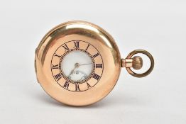 A ROLLED GOLD HALF HUNTER 'WALTHAM' POCKET WATCH, round white dial signed 'Waltham', Roman numerals,