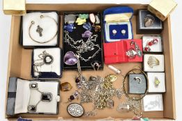 A BOX OF ASSORTED SILVER AND WHITE METAL JEWELLERY, to include a silver gilt charm bracelet,
