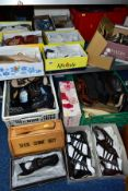 A QUANTITY OF LADIES SHOES AND A SHOE CLEANING BOX, including mainly size 6 shoes, sandals and