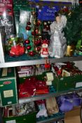 A LARGE QUANTITY OF MODERN CHRISTMAS TREES, DECORATIONS, CARDS ETC, to include approximately ten