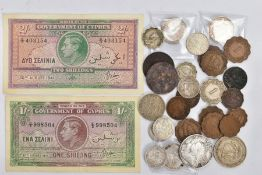 A quantity of world coins to include: a package of Cypriot coins 3x Nine piastre coins 1919,1921,