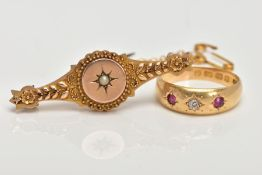 A LATE VICTORIAN 18CT GOLD DIAMOND AND RUBY RING, AND A 9CT GOLD MEMORIAL BROOCH, the ring set