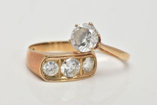 TWO 9CT GOLD CUBIC ZIRCONIA SET RINGS, the first a single stone ring set with a circular cut cubic