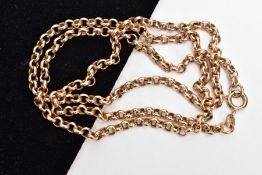 A 9CT GOLD BELCHER LINK CHAIN, fitted with a spring clasp, hallmarked 9ct gold London import, length
