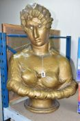 A VICTORIAN GILT PLASTER BUST OF A LADY, appears to have had alterations/repairs to forehead and