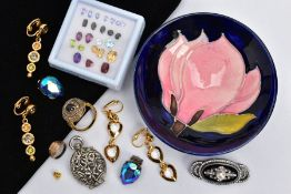 A MOORCROFT DISH AND JEWELLERY, small enamelled floral dish, signed 'Moorcroft' to the base,