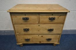 AN EARLY 20TH CENTURY PINE CHEST OF TWO SHORT OVER TWO LONG DRAWERS, width 83cm x depth 45cm x