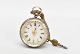 A LADIES OPEN FACE POCKET WATCH, round white dial, decorated with a yellow and white metal pattern