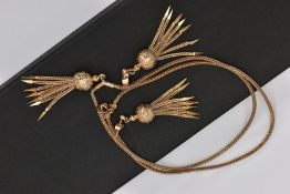 A 9CT GOLD TASSLE PENDANT NECKLACE AND MATCHING EARRINGS, the pendant designed with a floral