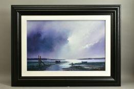 BARRY HILTON (BRITISH 1941) 'VIOLET DAWN', a signed limited edition print of a coastal landscape
