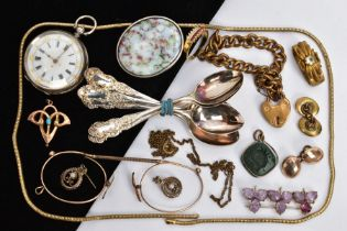 A SELECTION OF ITEMS, to include a ladies open face pocket watch, round white dial with gold