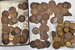 A BOX CONTAINING MOSTLY UK COPPER COINS