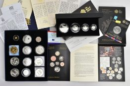 A SMALL GROUP OF MAINLY SILVER PROOF COINAGE To Include: a Britannia 2008 4 coin silver proof set in