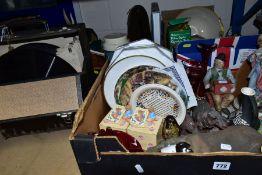 THREE BOXES OF CERAMICS, GLASSWARE, METALWARE, ETC, AND A CASE OF 78'S, to include Capodimonte