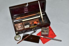 A VICTORIAN TRAVELLING ROSEWOOD WRITING BOX, containing a silver pencil hallmarked for Richard