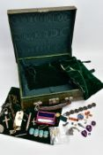 A LEATHER CASE WITH JEWELLERY, green crocodile skin case, with contents to include a gilt silver