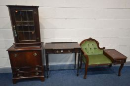 FOUR VARIOUS PIECES OF MAHOGANY FURNITURE, to include a telephone table/seat (this item does not