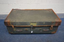 A VINTAGE GREEN FINISH AND LEATHER TRAVELING TRUNK, width 84cm x depth 46cm x height 33cm (Sd to