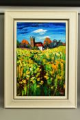 LYNN RODGIE (BRITISH CONTEMPORARY) 'SPRING RAPE', a landscape of oil seed rape plants with church