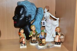 A SMALL GROUP OF CERAMICS TO INCLUDE GOEBEL, comprising a Royal Doulton 'In Vogue Rebecca' HN4203, a