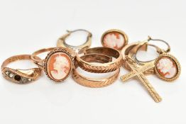 SEVEN ITEMS OF JEWELLERY, to include a 9ct gold cameo ring, a pair of 9ct gold cameo stud