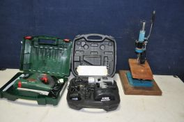 A BOSCH PFZ500E MULTI SAW in case, a Sainsbury's 14.4v cordless drill in case (both PAT pass and