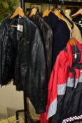 FIREFIGHTERS UNIFORM, to include Staffordshire Fire and Rescue Service red waterproof jacket, two