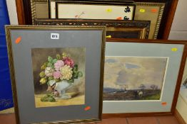 PICTURES AND PRINTS COMPRISING AN UNSIGNED STILL LIFE STUDY OF ROSES, circa 1930's/1940's,