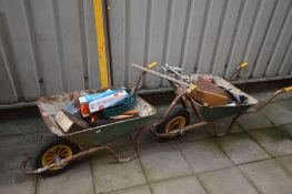 TWO WHEEL BARROWS containing tools including a Silverline double suction pad, spirit levels,