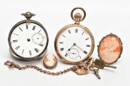 A SILVER OPEN FACE POCKET WATCH, GOLD-PLATED POCKET WATCH, ALBERT CHAIN AND TWO CAMEO BROOCHES,
