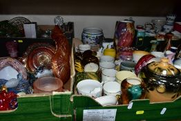 FIVE BOXES AND LOOSE CERAMICS AND GLASSWARES, to include various pieces of lustreware by Wade,
