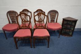 A SET OF FOUR MAHOGANY SHIELD SPLAT BACK CHAIRS, two other chairs, all with matching upholstery,
